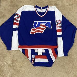 CCM Authentic Dave Ellett Team USA 1987 Canada Cup IIHF Hockey Jersey Blue 52