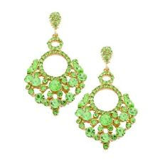 Green dangly earrings chandelier evening sparkly bridal prom party gold tone