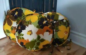 VTG 70's RETRO MOD Bold flower orange brown yellow green round chair cushions