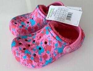 NEW CROCS Baya Printed Lined Clog Kids Girls Pink Blue Pattern  C11