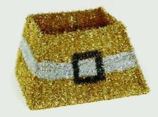 Christmas Decoration - Pretty Xmas Tinsel Tree Cover Skirt  Gold with White Belt