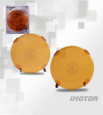 "2X 6"" KC OFF-ROAD LIGHTS DRIVING LAMPS COVER ROUND SHIELD PAIR 6-INCH AMBER NEW"