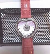LADIES PINK HEART SHAPE DIAMOND WATCH