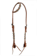 Western Natural One Ear Style Rawhide Braided Headstall with Leather ties