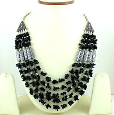 NATURAL BLACK ONYX CHIPS GEMSTONE BEADED BEAUTIFUL NECKLACE 102 GRAMS