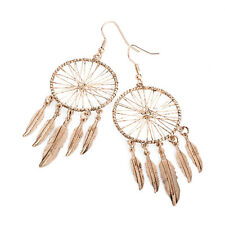 Light Rose Gold Colour Dream Catcher Drop Earrings Ladies Jewellery