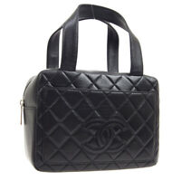 CHANEL Quilted CC Logos Hand Bag 6095180 Purse Black Leather Vintage Auth K08549