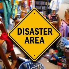 Disaster Area Sign - Highway Style Placard - Fun Dorm Room Gag Gift - Cave Decor