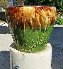 """Vintage Roseville Ransbottom 1400 Large 9"""" Jardinière pottery vase, green/brown"""