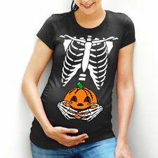 Pumpkin Belly T-Shirt Skeleton Maternity Top Halloween Costume Funny Womens L98