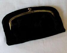 "1950's Black Velvet Fold-over Handbag or Clutch - ""A Madison Creation"""
