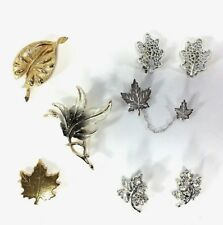 Costume Jewelry Collection Brooches Chatelaine Earrings Leaves VTG Leaf Lot of 6