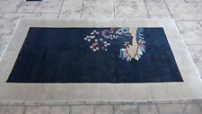 Early 20c Chinese Peking Art Deco Figural House On Landscape Wool Rug 4'x7',#2
