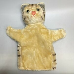 Vintage Steiff Monair Tabby Kitty Cat Hand Puppet With Button