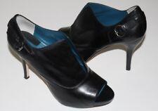 "Max Studio Xtrella 8.5 M Black ALL Leather Open Toe Shootie Pumps 4"" Heel Buckle"