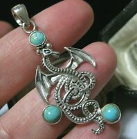 Beautiful Sterling Silver DRAGON Real Turquoise Gem Stone Large Necklace PENDANT