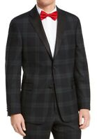 Tommy Hilfiger Mens Blazer Green Size 38 R Modern Fit Plaid Tuxedo $450 512
