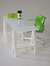 Dollhouse Modern Transparency white top working table with triangle leg (1:12)