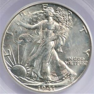 1941 D WALKING LIBERTY HALF DOLLAR PCGS MS 65 OLD GREEN HOLDER SILVERY WITH A