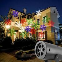 Moving Sparkling LED Snowflake Landscape Projector Xmas Garden Wall Lamp Light