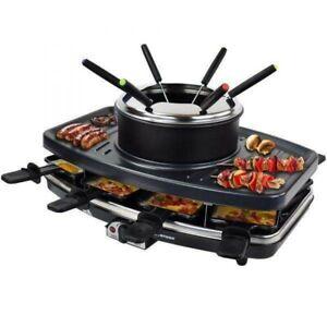 SYNTROX 3 in 1 Raclette-Set mit Fondue und Grill für 8 Personen 1100 W