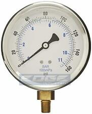 "LIQUID FILLED PRESSURE GAUGE 0-160 PSI, 4"" FACE, 1/4"" LOWER MOUNT"