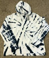 Men's Sz M Polo Ralph Lauren Tie Tye Dye Hooded Sweatshirt Hoodie White Navy