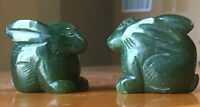 Scultura Figure Animale 2 Conigli Cinese Giada Verde
