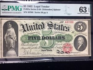 1862 $5 Bank Note PMG 63 Choice Uncirculated Exceptional Paper Quality