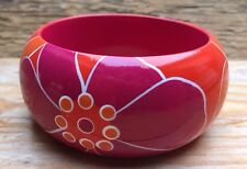 Chunky Vintage Style Rainbow Bangle/Pink/Orange/Floral Retro/Painted/Statement