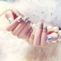 24Pcs/Set Full Cover False Cute Nail Art Tips Tools Short Nails DIY Manicure
