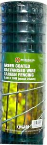 PVC Coated Wire Mesh Fencing 10M x 0.9M Height Green Galvanised Garden Fence