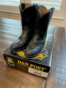 DAN POST, YOUTH BOYS SZ 12  BLACK LEATHER, COWBOY WESTERN ROPER BOOTS DPC2201