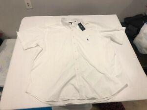 NWT $89.99 Polo Ralph Lauren Mens Performance SS Buttondown White B&T Size 2XB