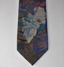 Vintage floral tie by Canda C&A multi-coloured flower design washable 1980s