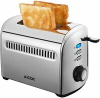 2 Slice 1.6-inch Slots Stainless Steel Toaster with 7 Bread Browning Settings
