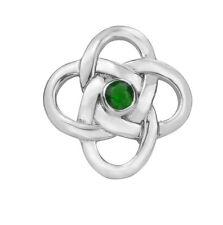 Celta Plata De Ley Broche con Emerald Color Piedra