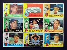 LOT OF 9 BOSTON RED SOX Baseball Cards All Different from VG to EX Condition