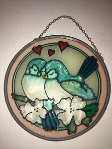 Vintage Glass Sun Catcher Window Art blue Love Birds 5 Inch