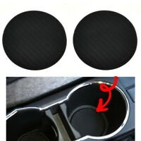 2Pcs Black Carbon Fiber Look Car Auto Water Cup Slot Non-Slip Mat Accessories FS