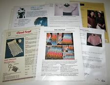 Lot of 6 Knitting Yarn Patterns CAPELET Poncho SHRUG Cable & Peek a Bead Scarf