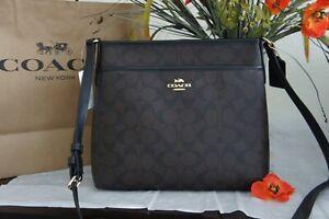 NWT Coach F29210 Zip File Crossbody bag Signature & Leather Brown Black $228