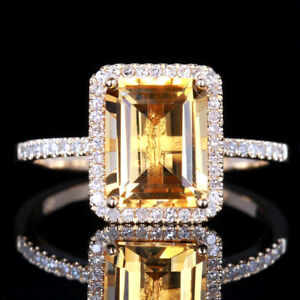 6.5x8.5mm Emerald Genuine Citrine Natural Diamond Wedding Ring 14K Yellow Gold