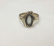 WHEELER STERLING SILVER DOUBLE SWIRL & FEATHER MOTHER OF PEARL RING SZ 7.5 **