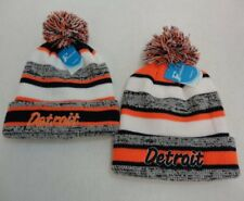 24 PC Lot Detroit Embroidered Beanie PomPom Winter Toboggan Hats Stripes