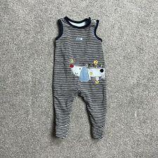 M&Co Baby Sleepsuit Babygrow Navy Blue Stripey With Dog On Age 6-9 Months
