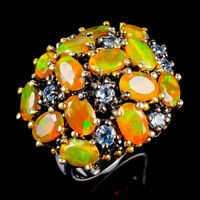 Rainbow6x4mm Natural Orange Opal 925 Sterling Silver Ring Size 8.5/R124149
