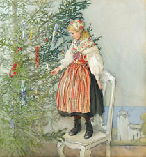 Carl Larsson Decorating The Christmas Tree Wall Art Real Canvas Print