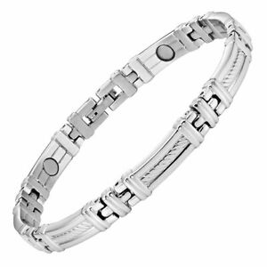 LADIES STAINLESS STEEL MAGNETIC BRACELET CARPAL TUNNEL ARTHRITIS PAIN RELIEF 342