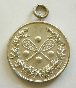 h094 1930's International Tennis Contest Sports prize silvered art medal